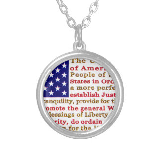 Flag Of USA American With Words the Constitution Necklace