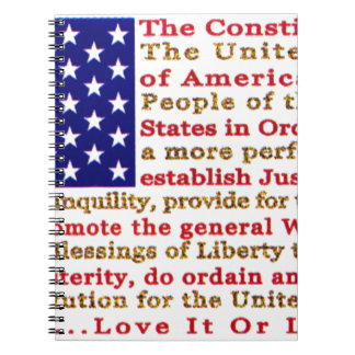 Flag Of USA American With Words the Constitution Notebook