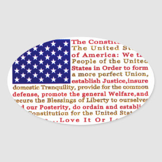Flag Of USA American With Words the Constitution Oval Sticker