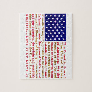 Flag Of USA American With Words the Constitution Jigsaw Puzzles