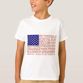 Flag Of USA American With Words the Constitution T-Shirt