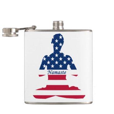 Flag of USA meditation American yoga Flask