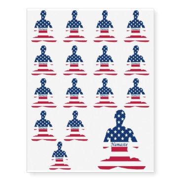 Flag of USA meditation American yoga Temporary Tattoos