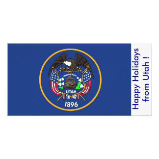Flag of Utah, Happy Holidays from U.S.A. Card