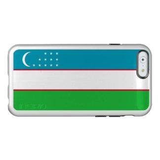 Flag of Uzbekistan Silver iPhone Case