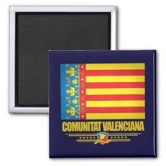 Flag of Valencia 2 Inch Square Magnet