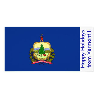 Flag of Vermont Happy Holidays from U S A Photo Card Template