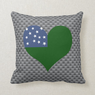 Flag of Vermont on metal background Throw Pillow