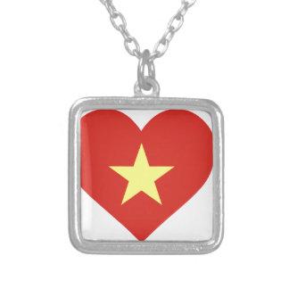 Flag of Vietnam - I Love Viet Nam - Cờ đỏ sao vàng Silver Plated Necklace