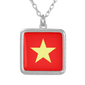 Flag of Vietnam Silver Plated Necklace
