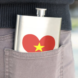 Flag of Vietnamese on metal background Flask