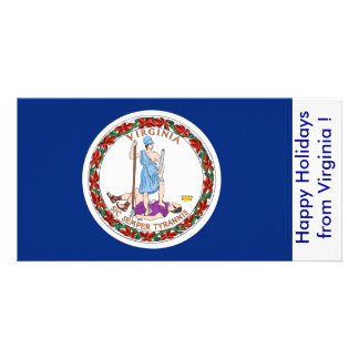 Flag of Virginia, Happy Holidays from U.S.A. Card