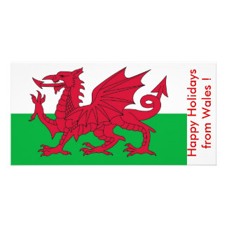 Flag of Wales Happy Holidays from U K Photo Greeting Card
