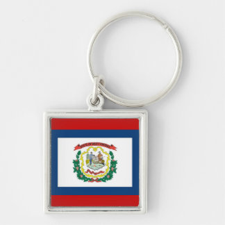 FLAG OF WEST VIRGINA Silver-Colored SQUARE KEYCHAIN