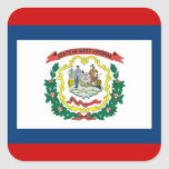 FLAG OF WEST VIRGINA SQUARE STICKERS