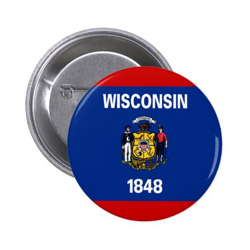 Flag of Wisconsin Pinback Buttons