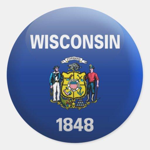 Flag of Wisconsin Classic Round Sticker