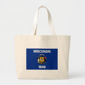 Flag Of Wisconsin Large Tote Bag