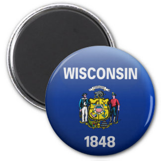 Flag of Wisconsin 2 Inch Round Magnet