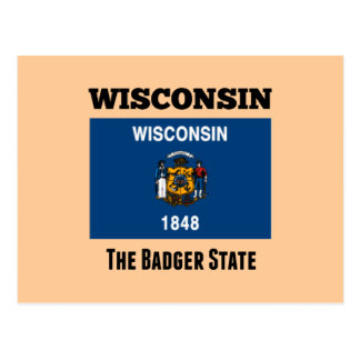 Flag of Wisconsin, The Badger State Postcard