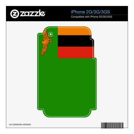 Flag of Zambia Decal For The iPhone 3