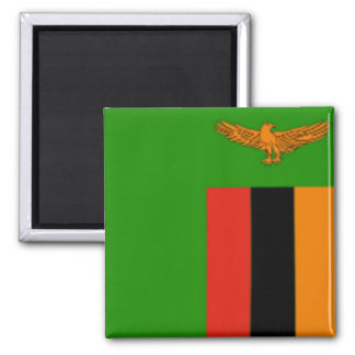 Flag of Zambia 2 Inch Square Magnet