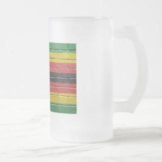 Flag of Zimbabwe Frosted Glass Beer Mug