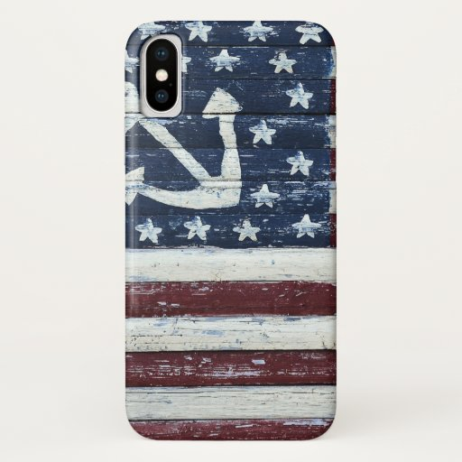 flag painted on old wood iPhone XS case
