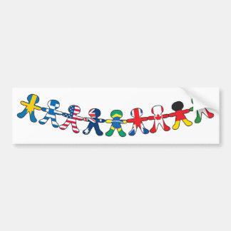 Flag Paper Dolls Bumper Sticker