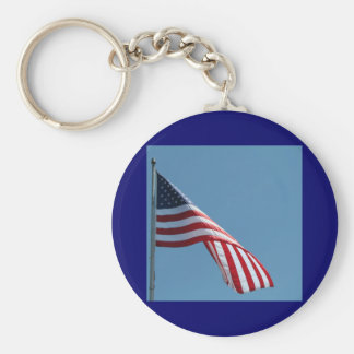 Flag!  Patriotic colors! Basic Round Button Keychain