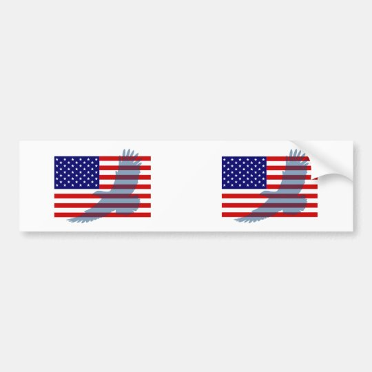 Flag & Patriotic Eagle Bumper Sticker