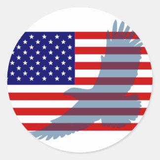 Flag & Patriotic Eagle Classic Round Sticker