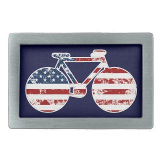 flag patriotic United States of America bicycle Rectangular Belt Buckle