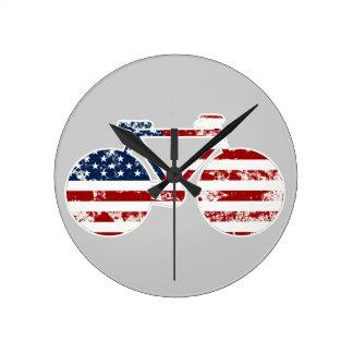flag patriotic United States of America biking Round Clock