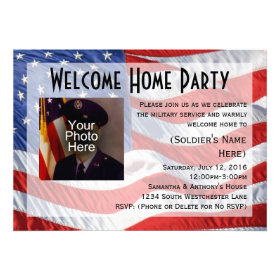 Flag/Photo Military Welcome Home Party Invitation