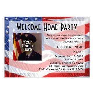 Flag Photo Military Welcome Home Party Invitation