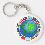 Flag Planet Basic Round Button Keychain