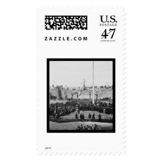 Flag Raising at Fort Sumter near Charleston 1865 Postage Stamp