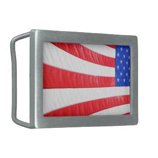 Flag Red Blue White Rectangular Belt Buckle