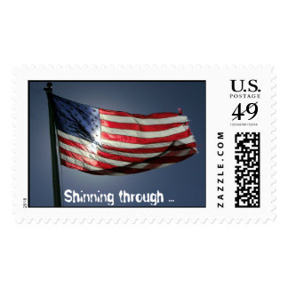 flag, Shinning through ... Postage Stamp
