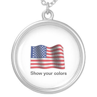 flag, Show your colors Round Pendant Necklace