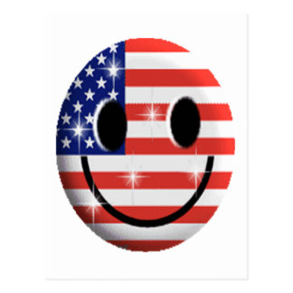 flag smiley face postcard