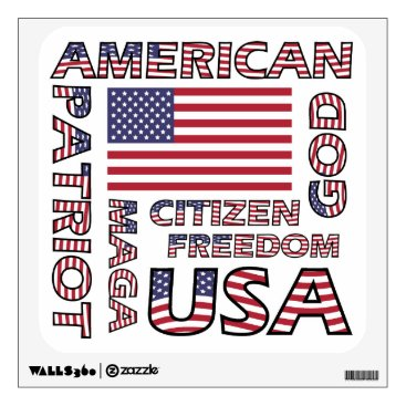 USA Themed Flag Text American Patriot Wall Sticker