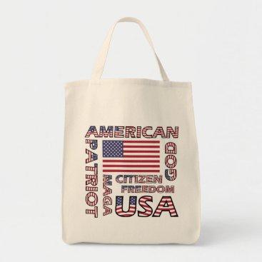 USA Themed Flag Text US Patriot Old Glory Tote Bag
