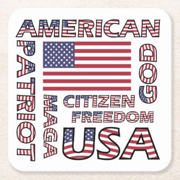 USA Themed Flag Text US Patriot Red White and Blue Square Paper Coaster
