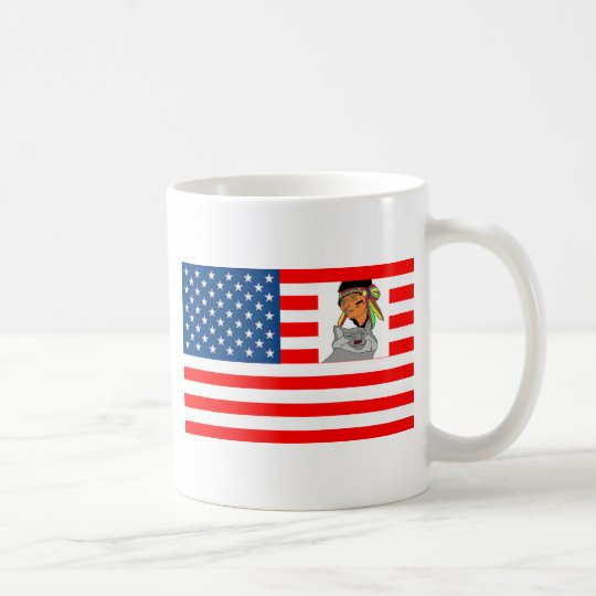 FLAG the USA INDIAN WOLF 1.PNG Coffee Mug