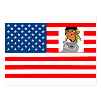 FLAG the USA INDIAN WOLF 1.PNG Postcard
