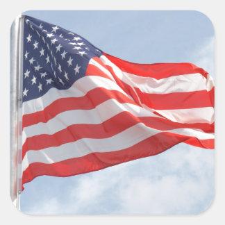Flag U S A United States America Square Sticker