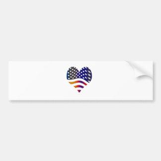 flag usa heart love american honor troops stripes bumper sticker