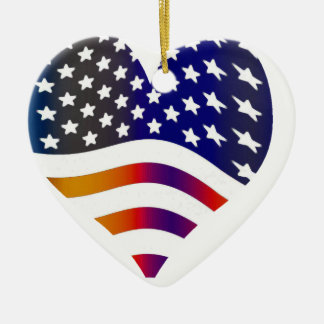 flag usa heart love american honor troops stripes Double-Sided heart ceramic christmas ornament